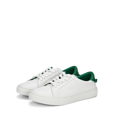 Yoins White Casual Leather Look Lace-up Sneakers with Green Back Part