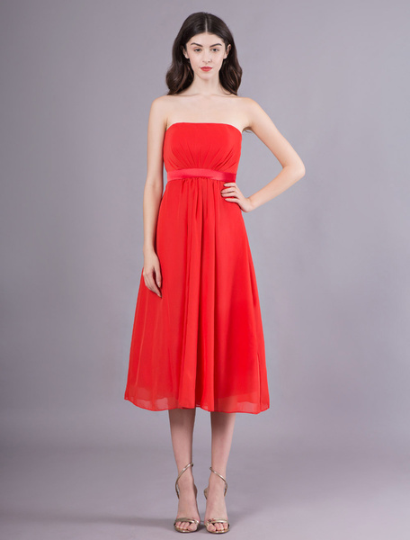 Milanoo Strapless Red Maternity Bridesmaid Dress