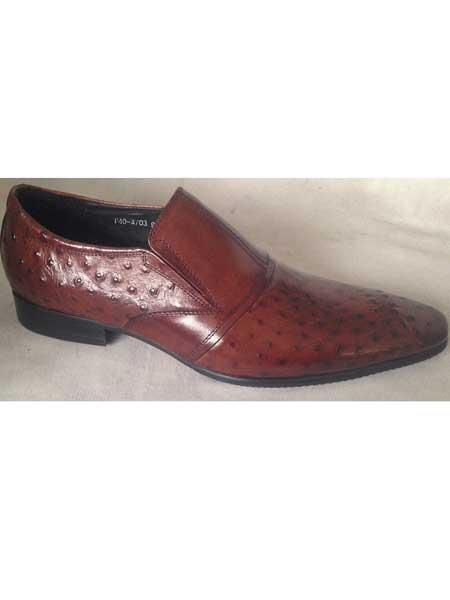 Mens Embossed Leather Brown Pointy Toe Slip On Shoes