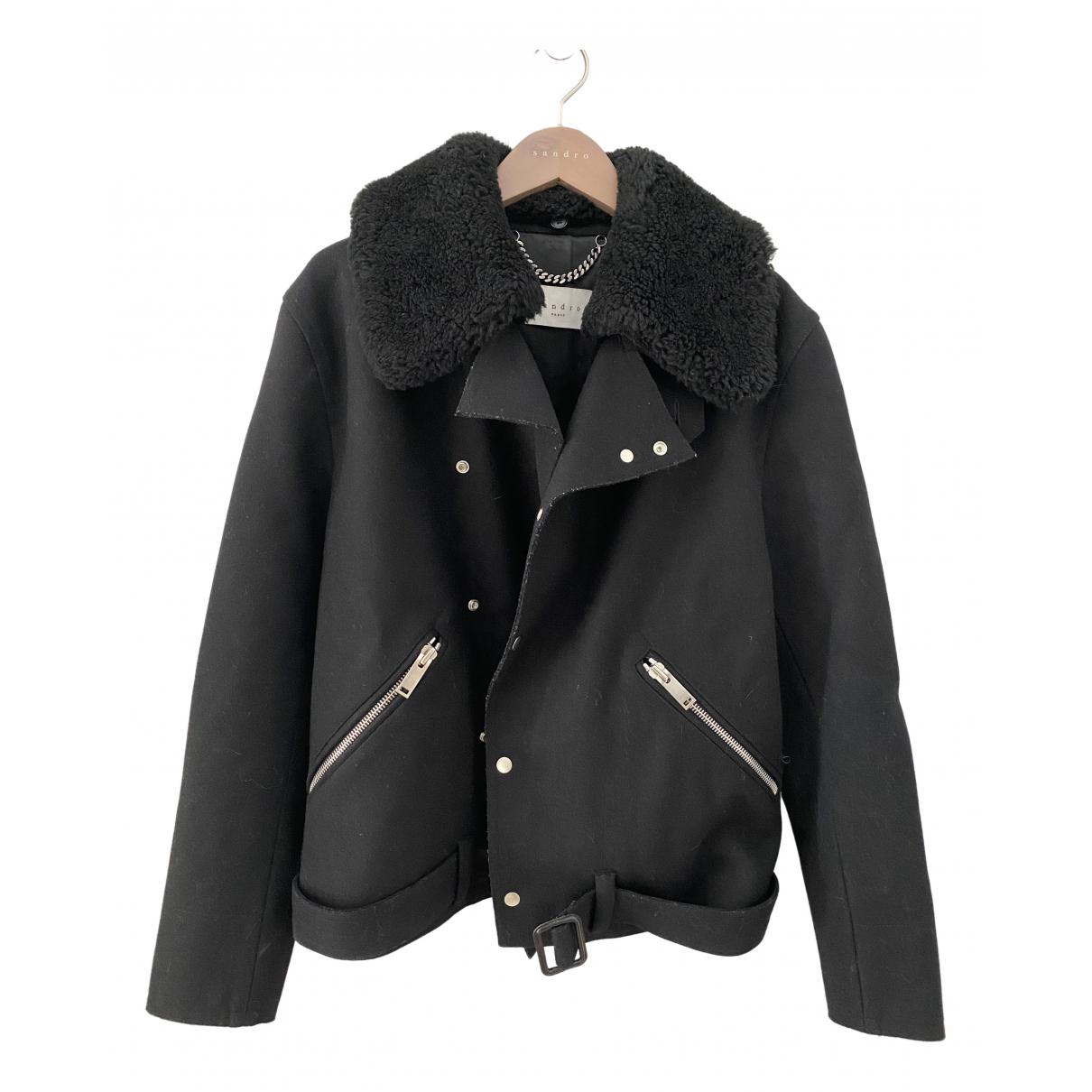 Sandro - Manteau   pour homme en laine - noir