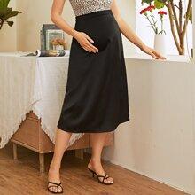 Maternity Zipper Fly Solid Skirt