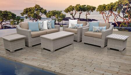 Coast Collection COAST-07d-WHEAT 7-Piece Patio Set 07d with 2 End Table   1 Storage Coffee Table   2 Club Chair   1 Left Arm Chair   1 Right Arm