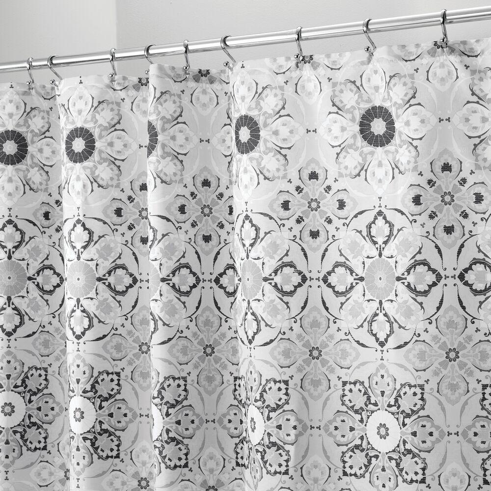 Decorative Print Fabric Shower Curtain in Black/Gray, 72