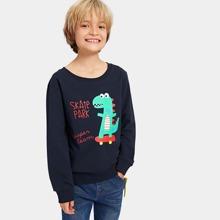 Toddler Boys Dinosaur & Letter Print Sweatshirt