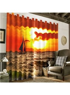 3D Red and Golden Sunrise and Sailboat on the Sea Printed Window Drapes
