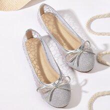 Toddler Girls Glitter & Bow Decor Mesh Flats
