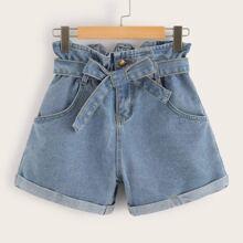 Shorts denim con cinturon de cintura con volante - grande