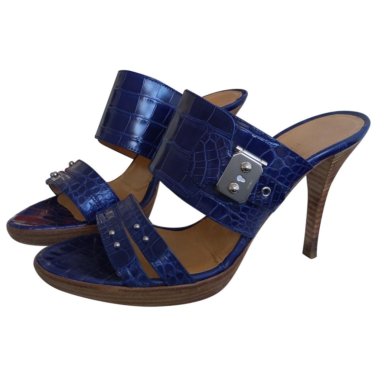 Hermes - Sandales   pour femme en crocodile - bleu