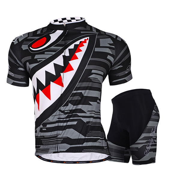 Male Printed Evil Mouth Breathable Short Sleeve Jersey Full Zipper Cycling Suit