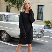Cable Knit Raglan Sleeve Sweater Dress