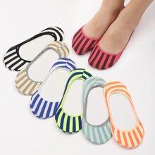 7 Paare Unsichtbare Socken mit Streifen Muster