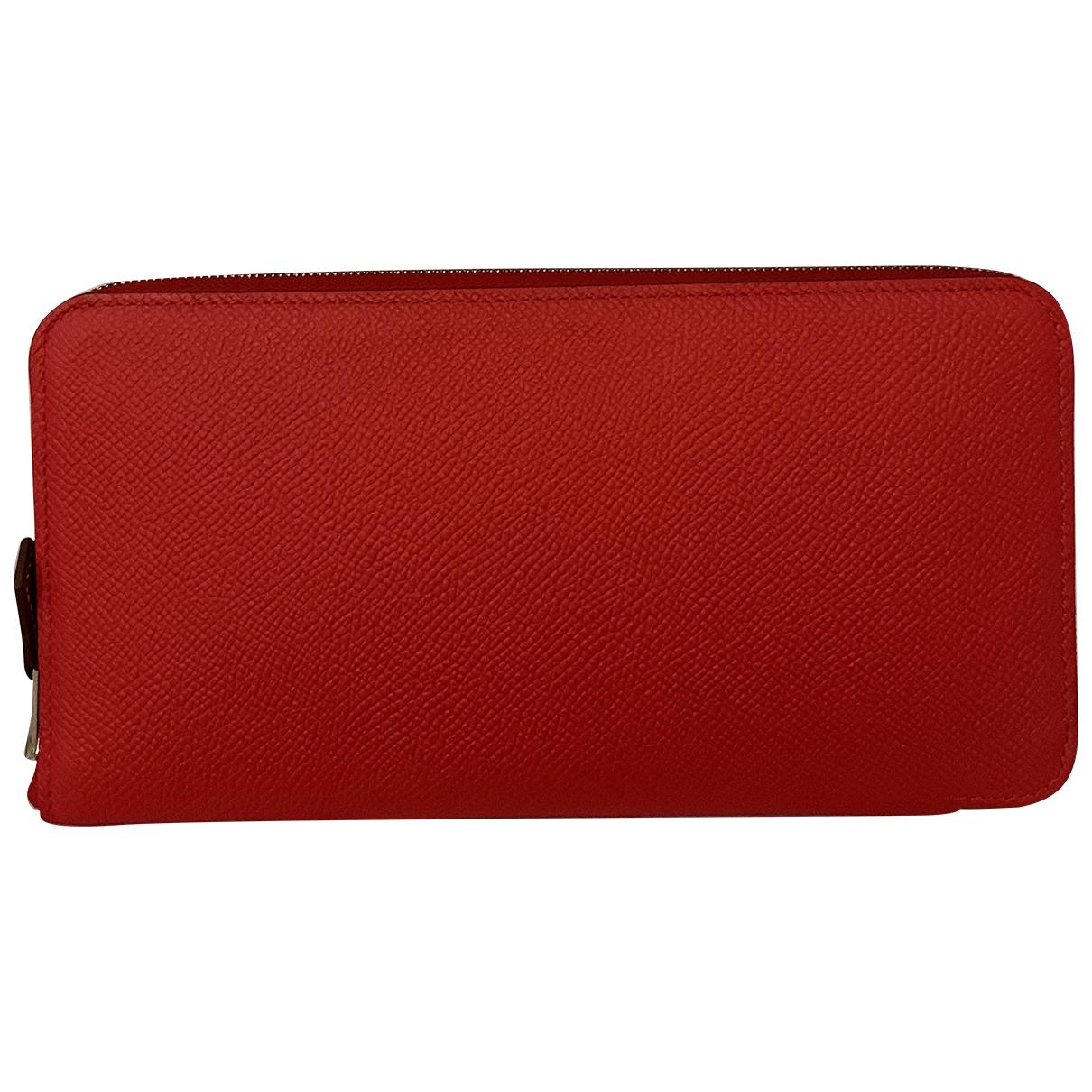 Hermes - Portefeuille Silkin pour femme en cuir - rouge