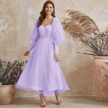 Lantern Sleeve Dobby Mesh Maxi Dress