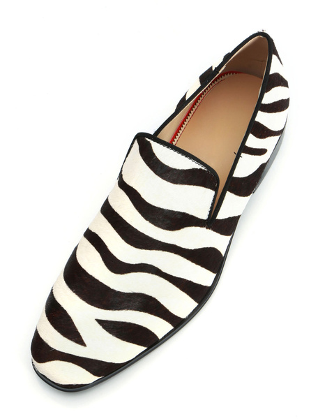 Milanoo Mens Zebra Printed Loafers Shoes with Horsehair Leather Round Toe slip on Driving Shoes