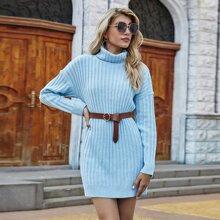 Turtleneck Drop Shoulder Sweater Dress Without Belt