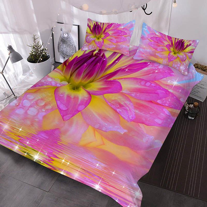 3D Purple Water Lily Printed Polyester 3-Piece Comforter Sets
