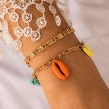 2 Stuecke Armband mit Schale Anhaenger