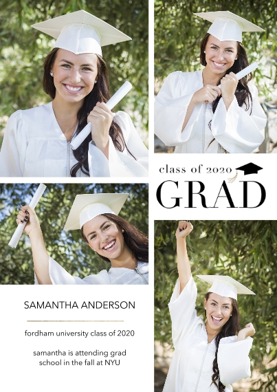 Graduation Announcements Flat Matte Photo Paper Cards with Envelopes, 5x7, Card & Stationery -Grad 2020 Collage by Tumbalina