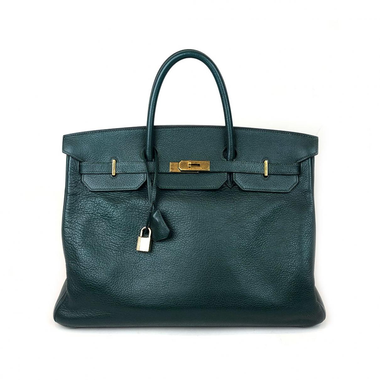 Hermès Birkin 40 Green Leather handbag for Women \N