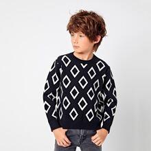 Pullover mit rundem Kragen und Argyle Muster
