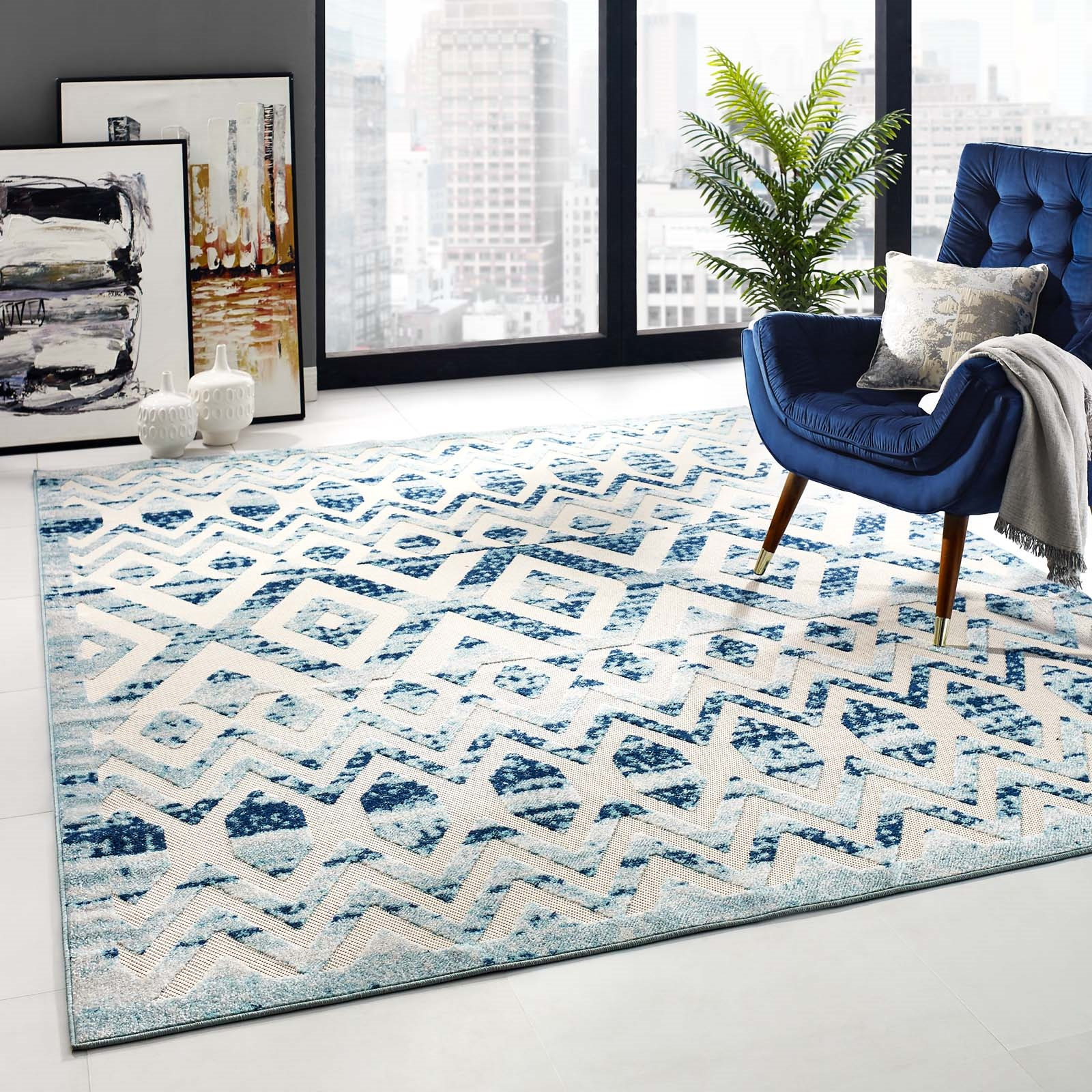 Reflect Tamako Diamond and Chevron Moroccan Trellis 8x10 Indoor / Outdoor Area Rug in Ivory and Blue
