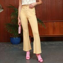Pantalones de guingan de pierna amplia bajo con abertura con boton