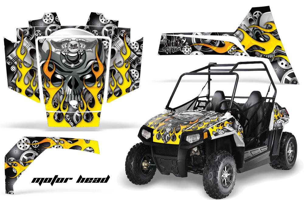 AMR Racing Full Custom UTV Graphics Decal Kit Wrap Motorhead Black Polaris RZR 170 Youth 14-18