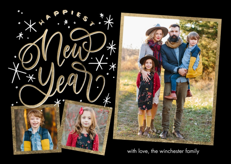 New Year's Photo Cards 5x7 Cards, Premium Cardstock 120lb with Rounded Corners, Card & Stationery -New Year Gold Frames by Tumbalina
