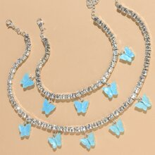 1pc Butterfly Charm Necklace & 1pc Anklet