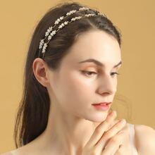 1 pieza aro de pelo con diamante de imitacion con 2 piezas horquilla