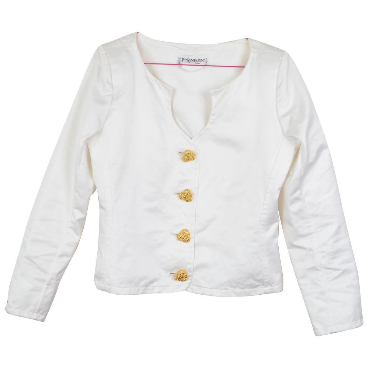 Yves Saint Laurent - Veste   pour femme en coton - blanc