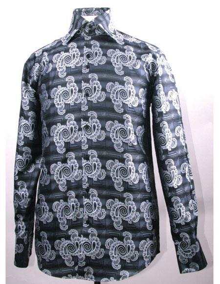 Men's High Collar ~ Shiny ~ Silky Fabric Black Swirl Pattern Shirts