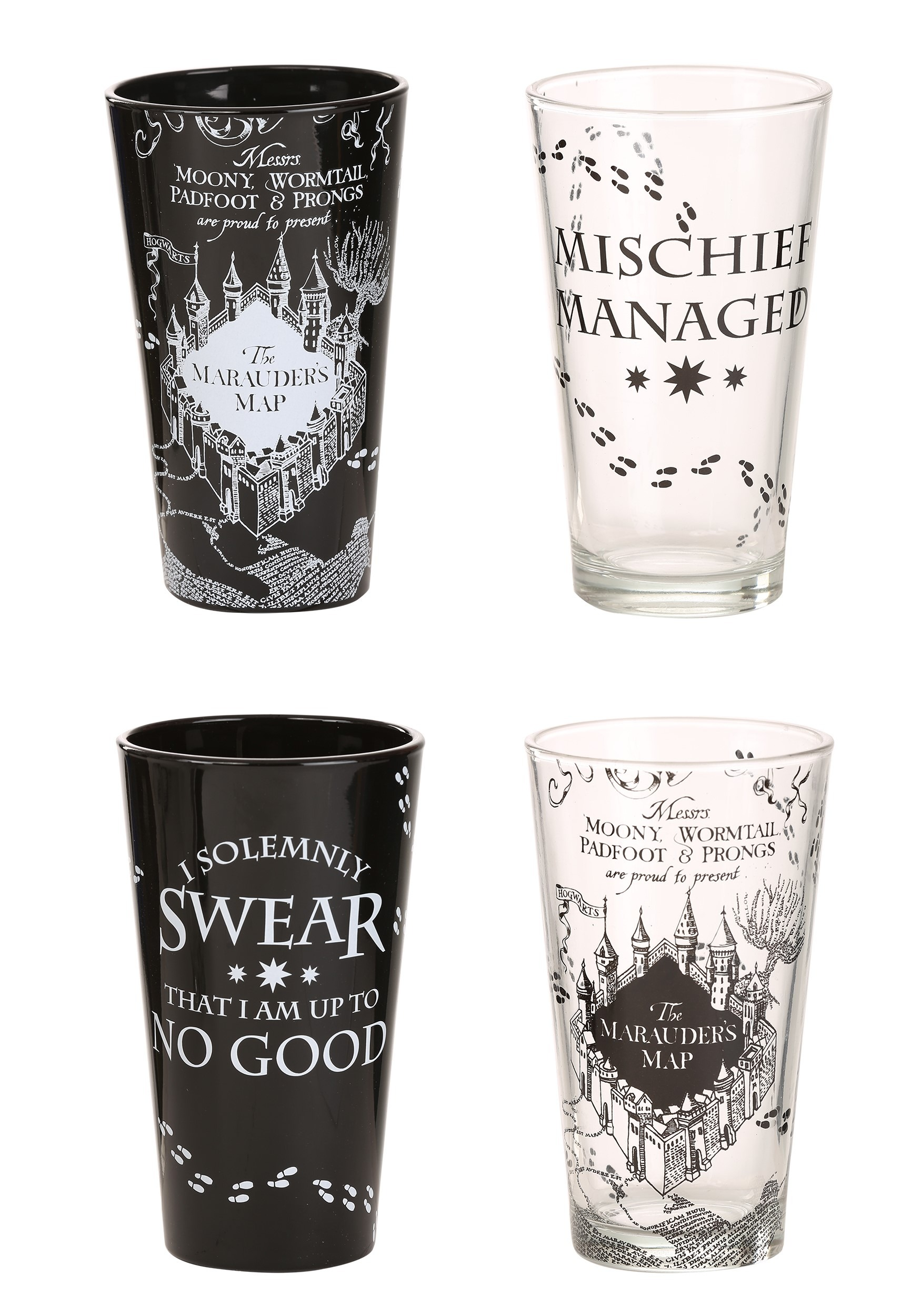 Harry Potter Mischief Solemnly Swear 16oz 4 Pc Pub Glass Set