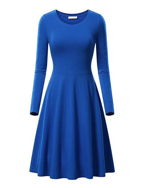 Milanoo Vintage Dress Womens Jewel Neck Long Sleeve 1950s Midi Retro Dresses