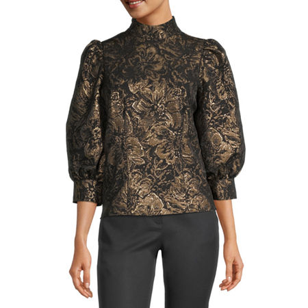 Worthington Womens Mock Neck 3/4 Sleeve Blouse, X-small , Black