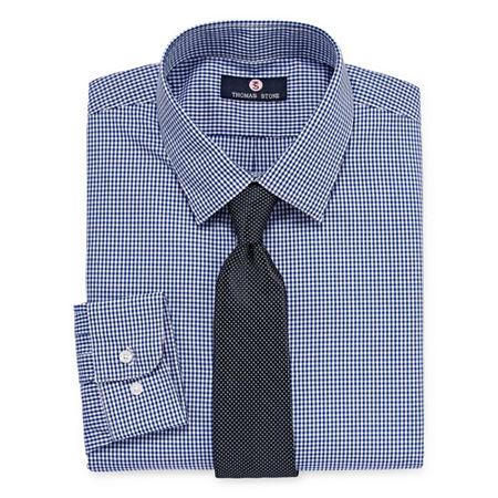 Thomas Stone Shirt And Tie Set Mens Point Collar Long Sleeve Shirt + Tie Set, 14-14.5 32-33, Blue