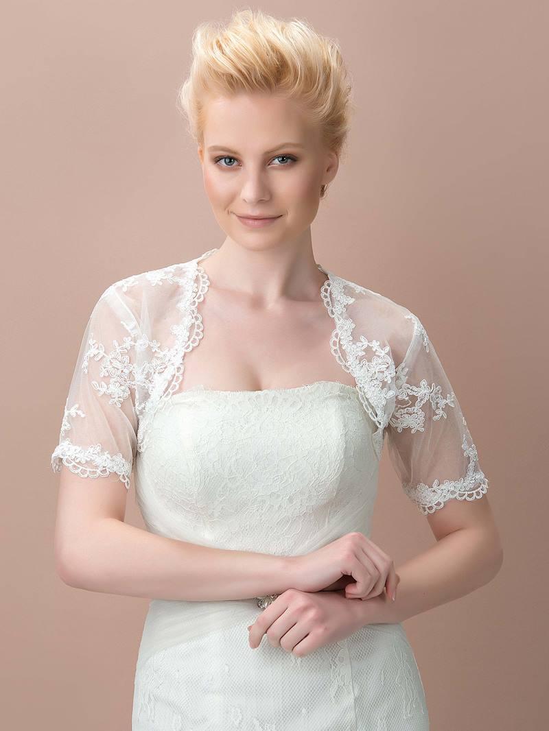 Pretty Short Sleeves White Wedding Jacket