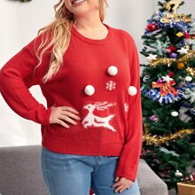 Plus Christmas Pattern Pom Pom Front Sweater