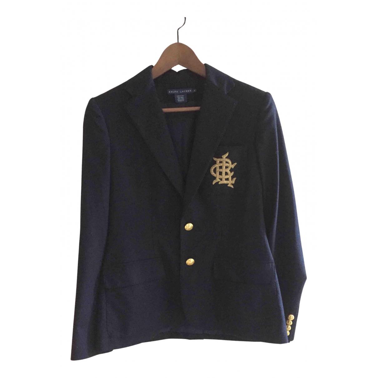 Ralph Lauren \N Jacke in  Marine Wolle