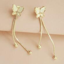 Butterfly Decor Tassel Drop Earrings