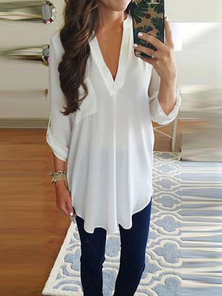 Yoins Elegant Pocket Design V-neck Long Sleeves Blouse