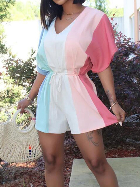 Milanoo White Stripes Romper V-Neck Short Sleeves Loose Summer One Piece Outfit
