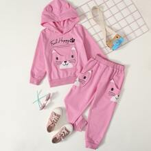 Toddler Girls Cartoon Patched 3D Ear Hoodie & Sweatpants