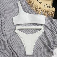 Bañador bikini de un hombro con abertura de canale