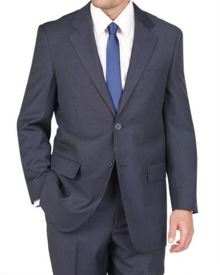 2 Button Blue Pinstripe Suit Mens Cheap