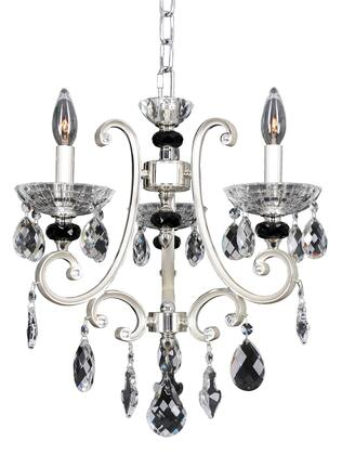 Bedetti 023954-017-FR001 3-Light Chandelier in Two Tone Silver Finish with Firenze Clear