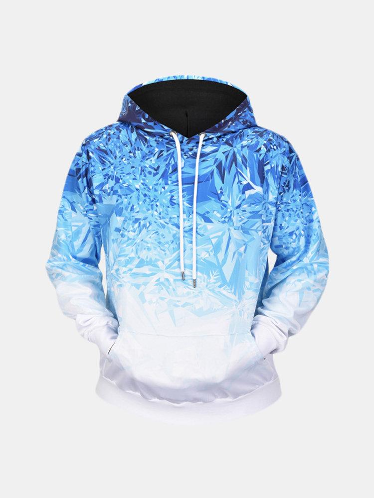 Mens Ice Crystals 3D Printing Long Sleeve Casual Fashion Drawstring Hooded Tops