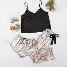 Lace Trim Cami Top & Floral Shorts & Pants Set