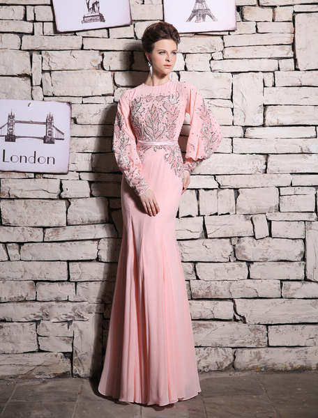 Milanoo Pink Evening Dress Mermaid Beaded Rhinestone Prom Dress  wedding guest dress