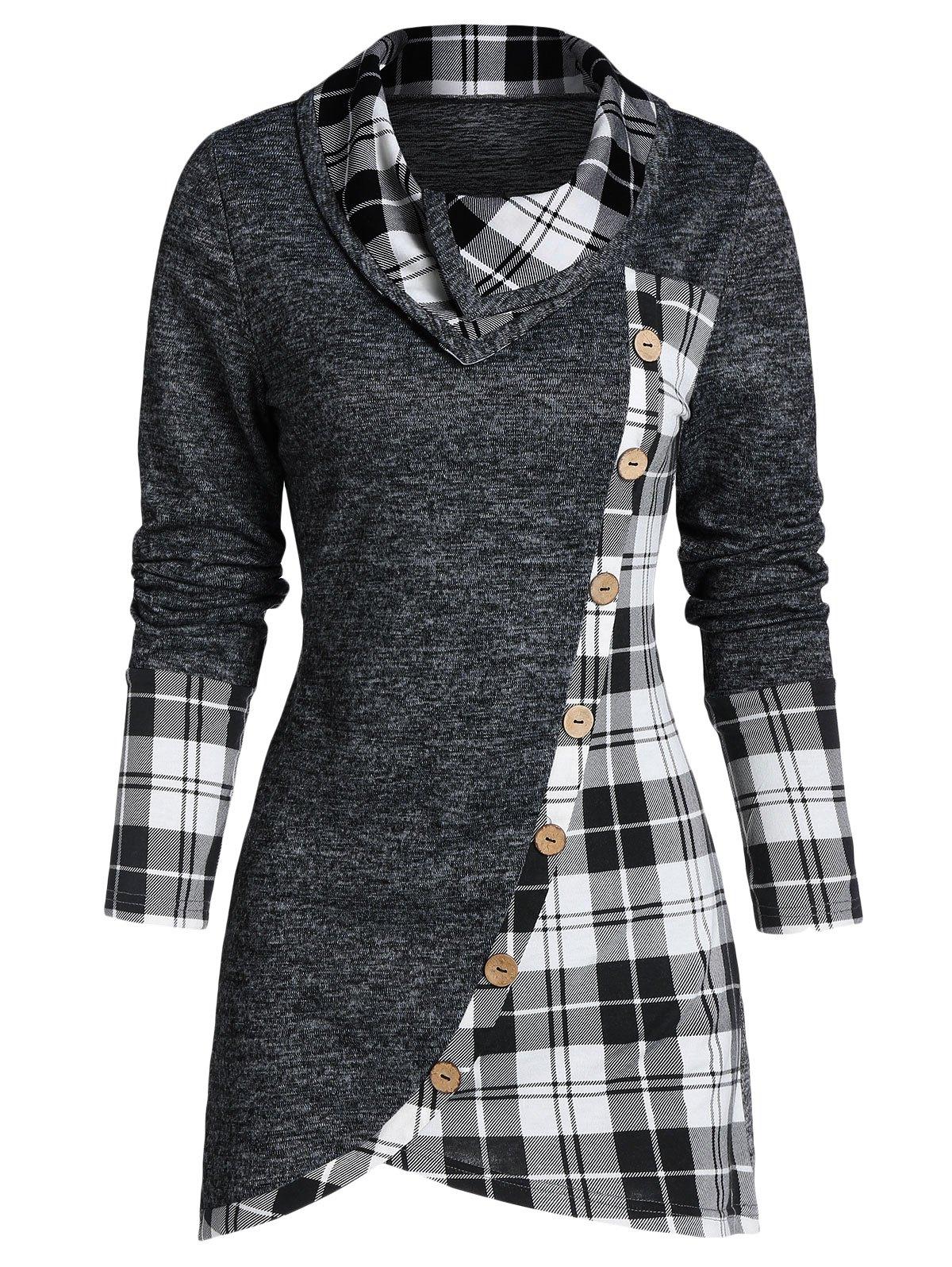 Plaid Print Mock Button Overlap Tunic T-shirt